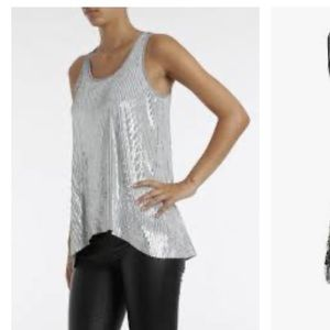 Michael Kors tank cotton and large sequins L
